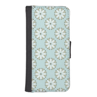 Floral mint powder white cute chic girly fun iPhone 5 wallet case