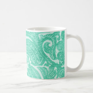 Floral Minty-Green - A Bright, Swirling Pattern Classic White Coffee Mug