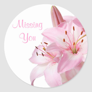 Floral Missing You Pink Lily Flower Sticker Label