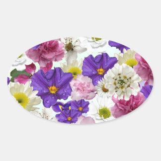 Floral Mix Oval Sticker