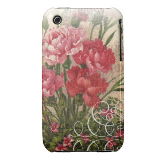 Floral Mixed Media Art Collage in Red iPhone 3 Cover