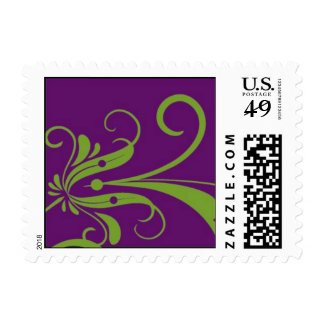 Floral modern swirl postage stamp