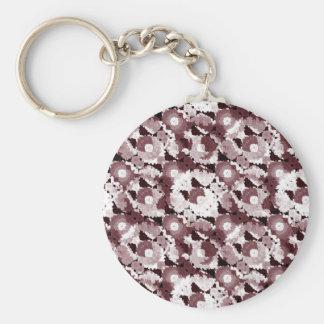 Floral moderno adornado llavero redondo tipo pin