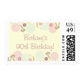 Floral moderno de lujo del 90.o cumpleaños de la timbres postales