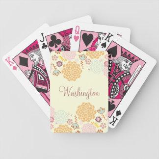 Floral moderno de lujo femenino personalizado baraja cartas de poker