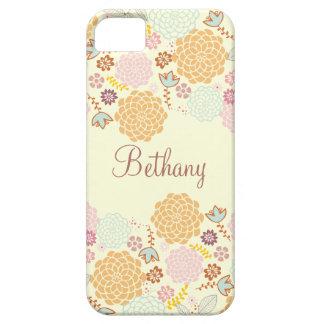 Floral moderno de lujo femenino personalizado iPhone 5 carcasa