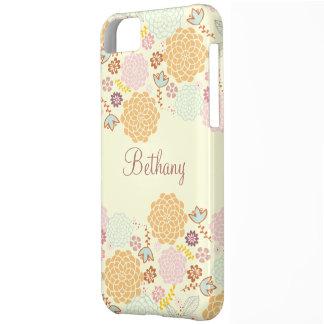 Floral moderno de lujo femenino personalizado funda para iPhone 5C