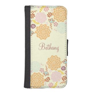 Floral moderno de lujo femenino personalizado fundas tipo billetera para iPhone 5