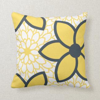 Floral moderno del amarillo, del blanco y del carb almohada