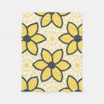 Floral moderno del amarillo, del blanco y del manta de forro polar