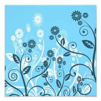 Floral moderno del azul de cielo arte fotográfico