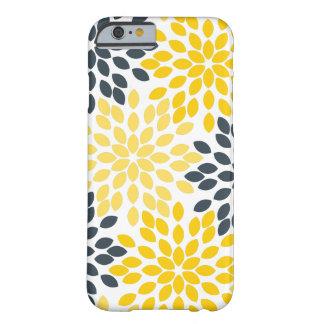 Floral moderno del carbón de leña amarillo y gris funda de iPhone 6 barely there