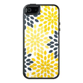 Floral moderno del carbón de leña amarillo y gris funda otterbox para iPhone 5/5s/SE