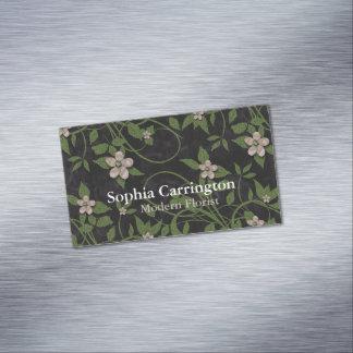 Floral moderno en negro tarjetas de visita magnéticas (paquete de 25)
