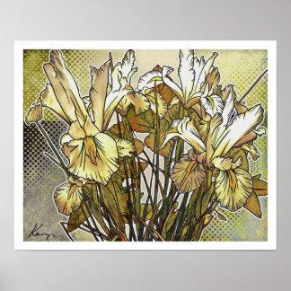 Floral moderno: Iris blanco Posters