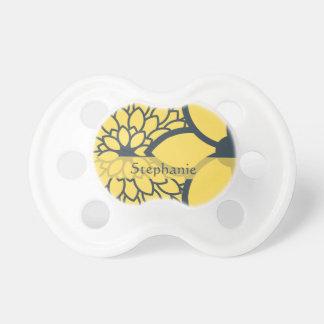 Floral moderno personalizada del amarillo y del ca chupete