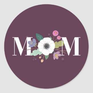 Floral Mom Mother's Day Sticker - Plum