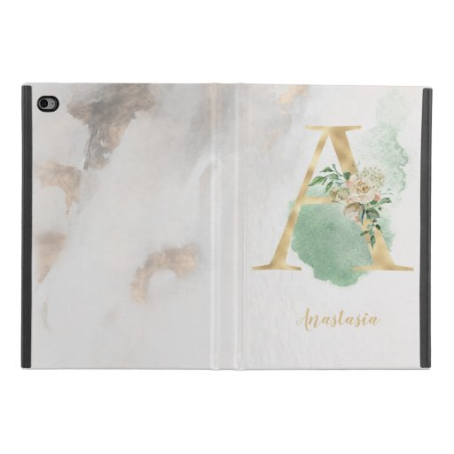 "Floral Monogram ""A"" iPad Case"