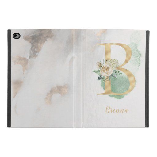 "Floral Monogram ""B"" iPad Case"