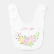 Floral Monogram Baby Girl Bib Cute Pastel Flowers