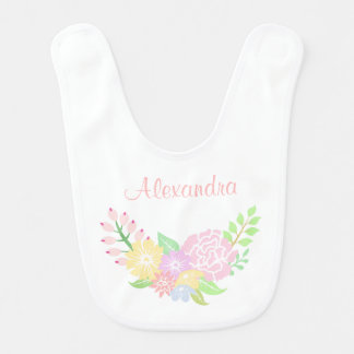 Floral Monogram Baby Girl Bib Cute Pastel Flowers
