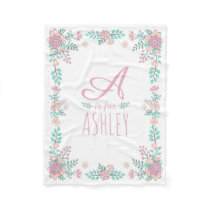 Floral Monogram Baby Girl Fleece Blanket