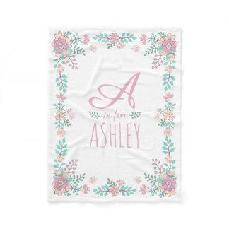 Floral Monogram Baby Girl Fleece Blanket