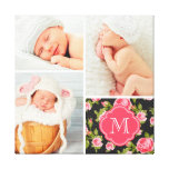 Floral Monogram Baby Photo Collage Nursery Art Canvas Print