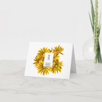 Floral Monogram Blank Note Card Gazania Flowers