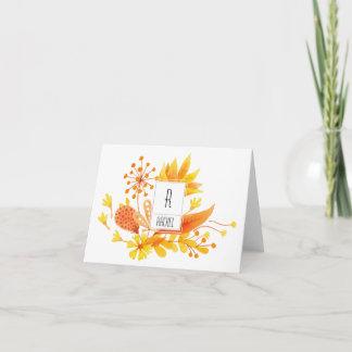 Floral Monogram Blank Note Card Orange Flowers
