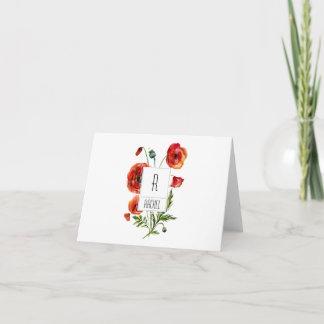 Floral Monogram Blank Note Card Red Poppy Flowers