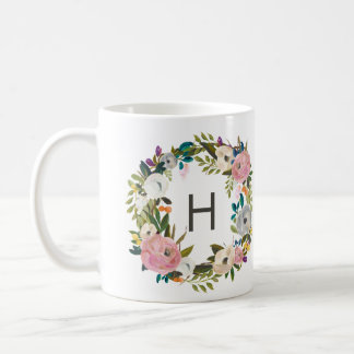 Floral Monogram Coffe Mug