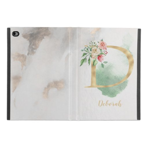 "Floral Monogram ""D"" iPad Case"