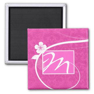 Floral Monogram Damask Magnet Pink