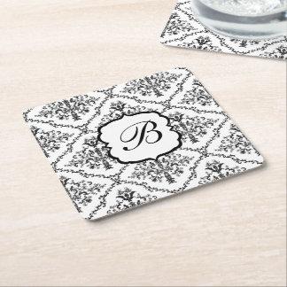 Floral Monogram Damask Square Paper Coaster