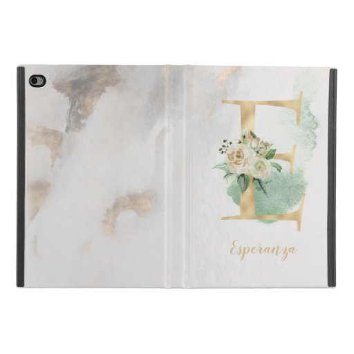 "Floral Monogram ""E"" iPad Case"
