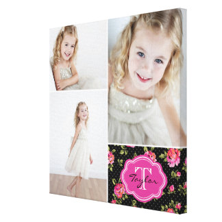 Floral Monogram Girly Photo Collage Canvas Print