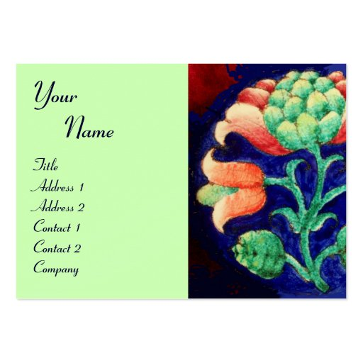FLORAL MONOGRAM, green red blue orange white Large Business Cards (Pack Of 100)