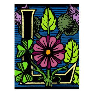 Floral Monogram L Postcard