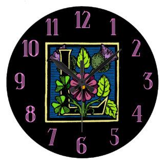 Floral Monogram L Round Clocks