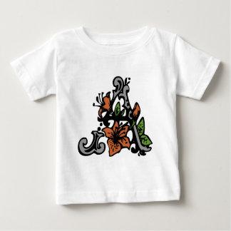 Floral Monogram Letter A Baby T-Shirt