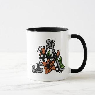 Floral Monogram Letter A Mug