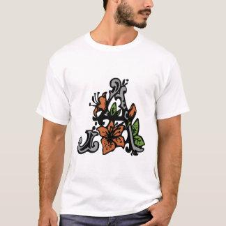 Floral Monogram Letter A T-Shirt