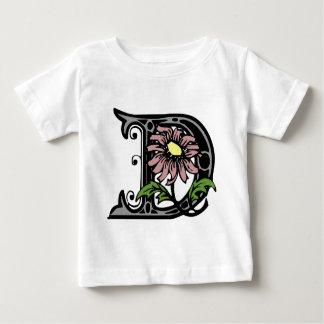 Floral Monogram Letter D Baby T-Shirt
