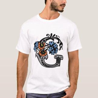 Floral Monogram Letter G T-Shirt