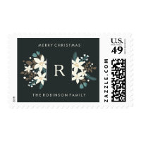 Floral Monogram Merry Christmas Postage