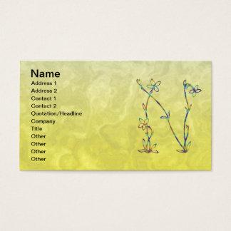 FLORAL MONOGRAM N BUSINESS CARD