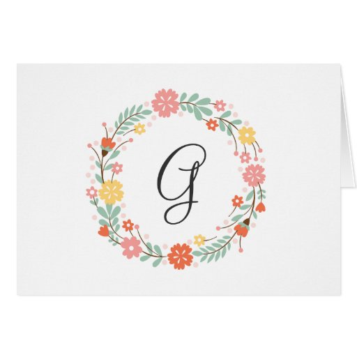 Floral Monogram Note Card