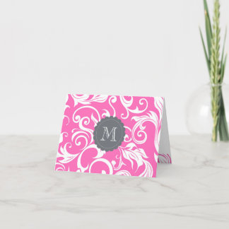 Floral Monogram Note Card Tropical Pink