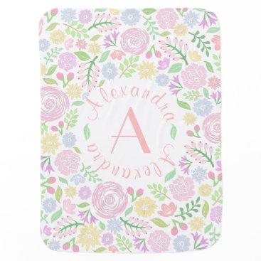 StyleDesignLove Floral Monogram Pastel Baby Girl Baby Blanket